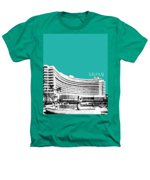 Miami Skyline Fontainebleau Hotel - Teal Heathers T-Shirt