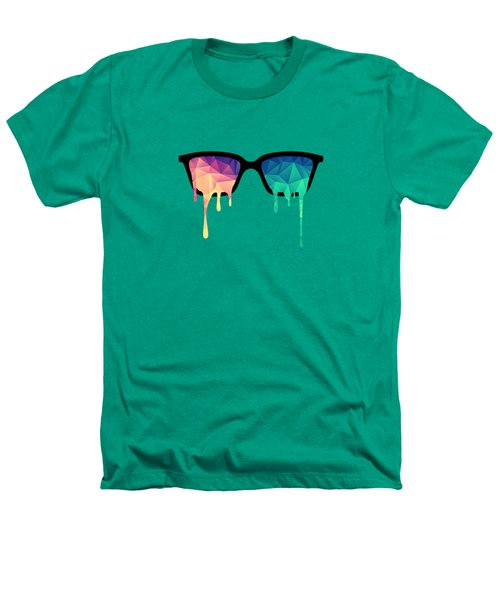 Psychedelic Nerd Glasses With Melting Lsd Trippy Color Triangles Heathers T-Shirt by Philipp Rietz
