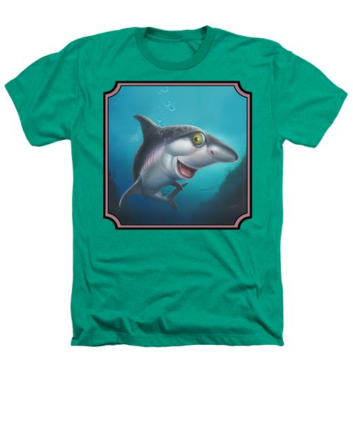 Friendly Shark Cartoony Cartoon - Under Sea - Square Format Heathers T-Shirt by Walt Curlee