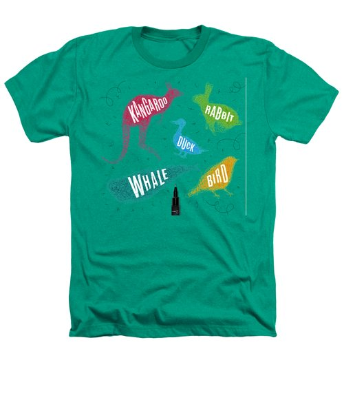 Kangaroo - Rabbit - Duck - Whale - Bird In Colors Heathers T-Shirt by Aloke Creative Store