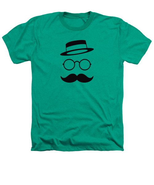 Retro Minimal Vintage Face With Moustache And Glasses Heathers T-Shirt by Philipp Rietz