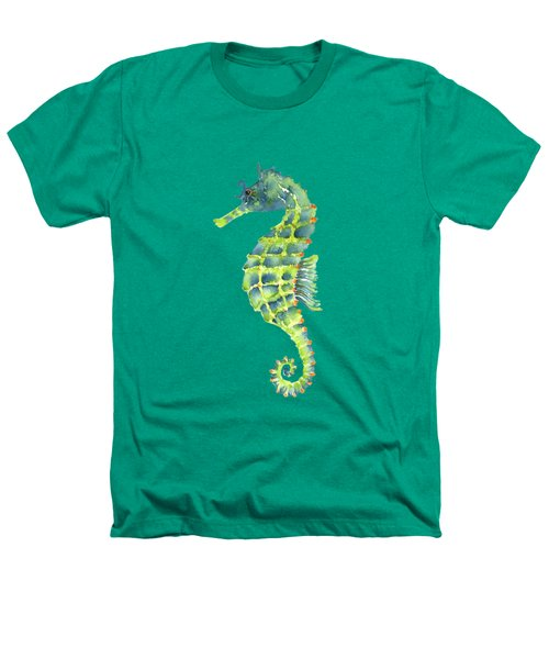 Teal Green Seahorse Heathers T-Shirt by Amy Kirkpatrick