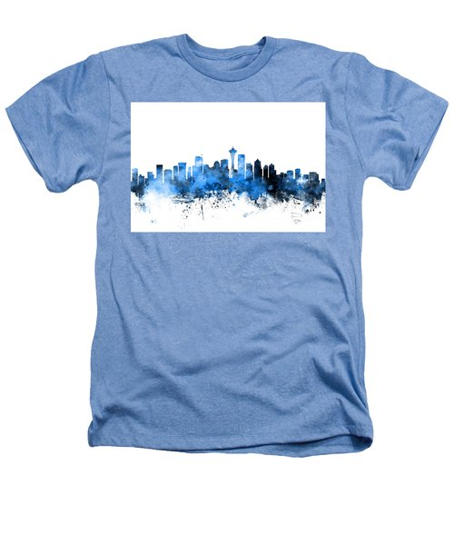 Seattle Washington Skyline Heathers T-Shirt by Michael Tompsett