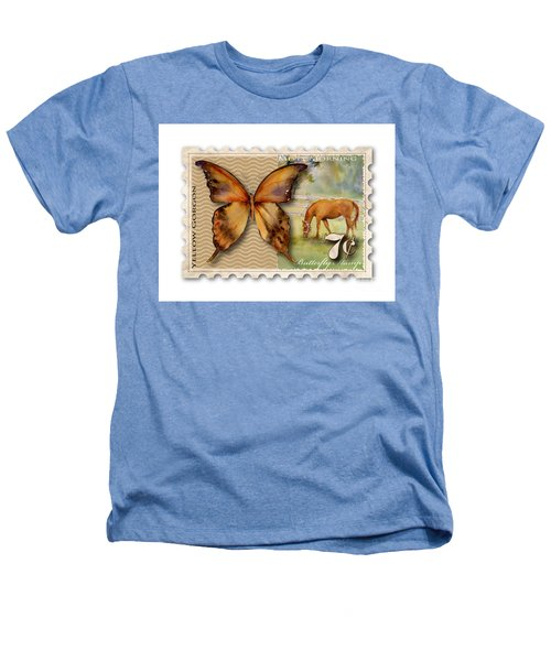 7 Cent Butterfly Stamp Heathers T-Shirt by Amy Kirkpatrick