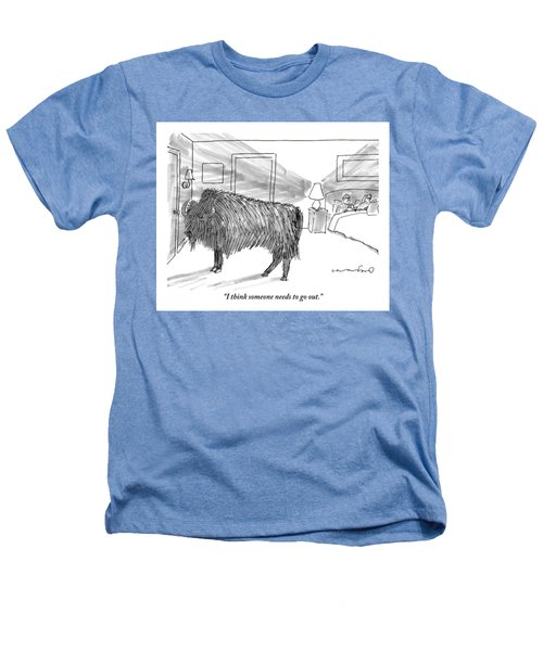A Large Buffalo Stands Near The Door Heathers T-Shirt by Michael Crawford