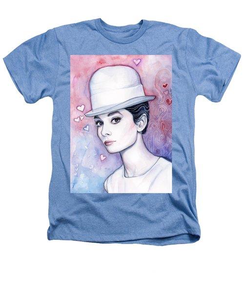Audrey Hepburn Fashion Watercolor Heathers T-Shirt by Olga Shvartsur