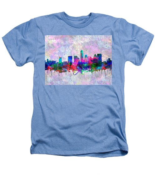 Austin Texas Skyline Watercolor 2 Heathers T-Shirt by Bekim Art