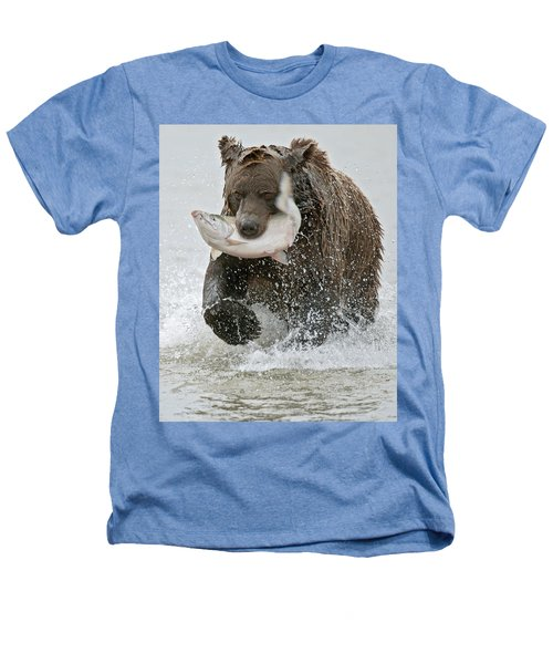 Brown Bear With Salmon Catch Heathers T-Shirt