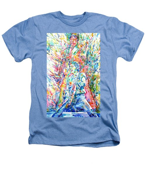 Bruce Springsteen And Clarence Clemons Watercolor Portrait Heathers T-Shirt by Fabrizio Cassetta