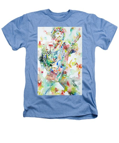 Bruce Springsteen Playing The Guitar Watercolor Portrait Heathers T-Shirt by Fabrizio Cassetta