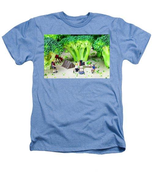 Camping Among Broccoli Jungles Miniature Art Heathers T-Shirt by Paul Ge