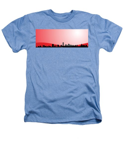 Cityscapes - Miami Skyline In Black On Red Heathers T-Shirt by Serge Averbukh