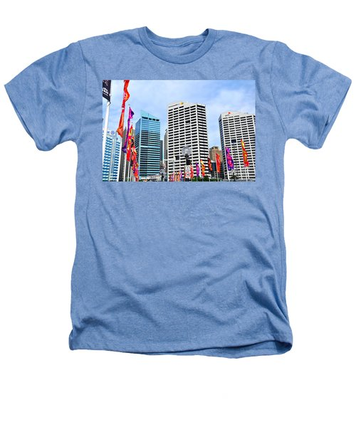 Colorful Flags Lead To City By Kaye Menner Heathers T-Shirt by Kaye Menner