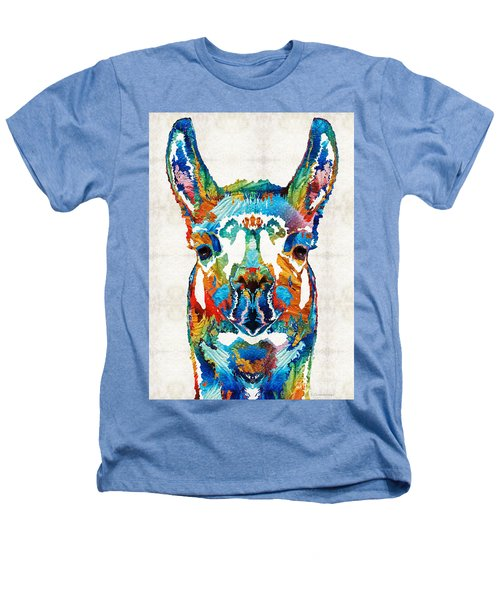 Colorful Llama Art - The Prince - By Sharon Cummings Heathers T-Shirt by Sharon Cummings