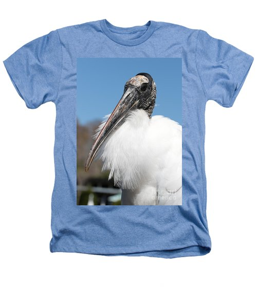 Fluffy Wood Stork Heathers T-Shirt by Carol Groenen