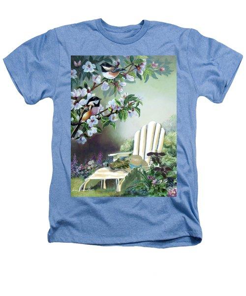 Chickadees In Blossom Tree Heathers T-Shirt by Regina Femrite