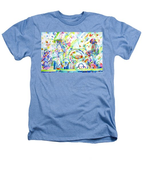 Led Zeppelin Live Concert - Watercolor Painting Heathers T-Shirt by Fabrizio Cassetta