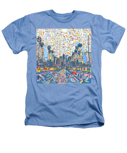 Los Angeles Skyline Abstract 3 Heathers T-Shirt by Bekim Art