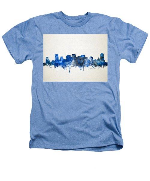 Nashville Skyline Watercolor 11 Heathers T-Shirt by Bekim Art