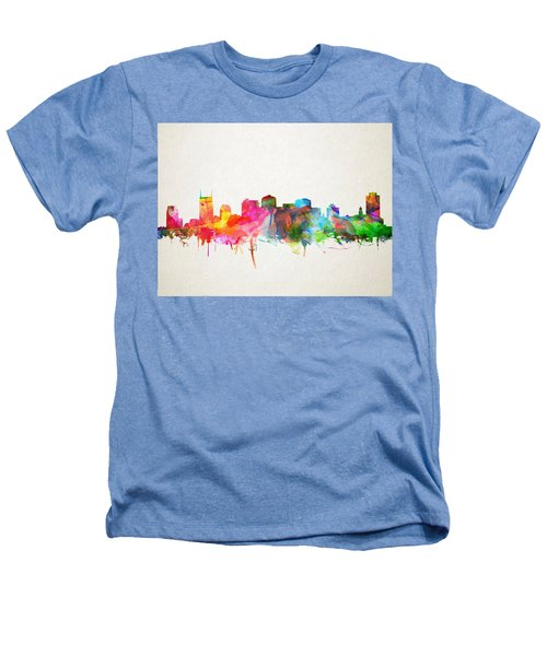 Nashville Skyline Watercolor 9 Heathers T-Shirt by Bekim Art