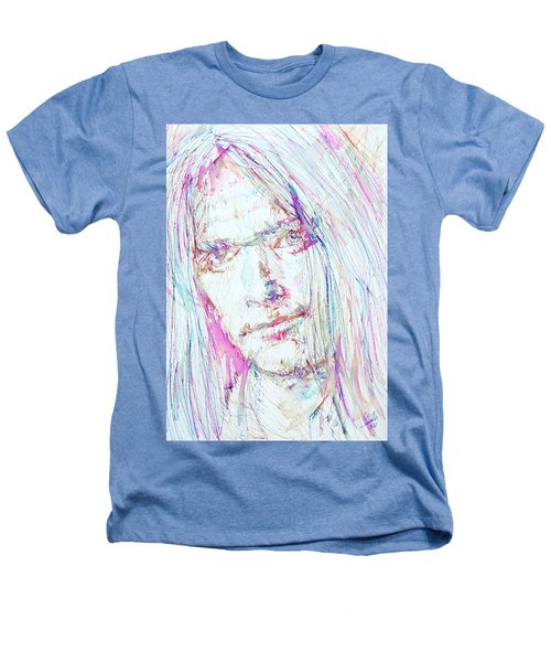 Neil Young - Colored Pens Portrait Heathers T-Shirt by Fabrizio Cassetta