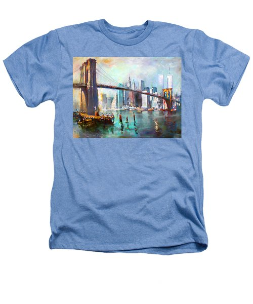 Ny City Brooklyn Bridge II Heathers T-Shirt by Ylli Haruni