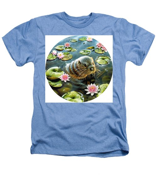 Otter In Water Lilies Heathers T-Shirt