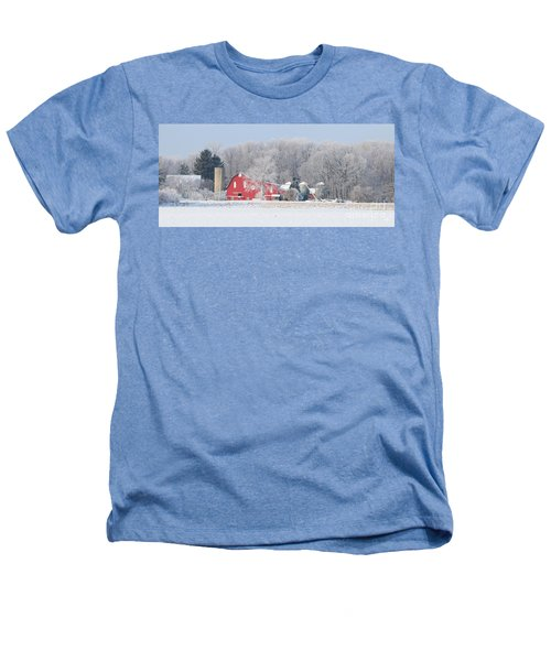 Red Barn Frosty Morning Panorama1 Heathers T-Shirt by Jack Schultz