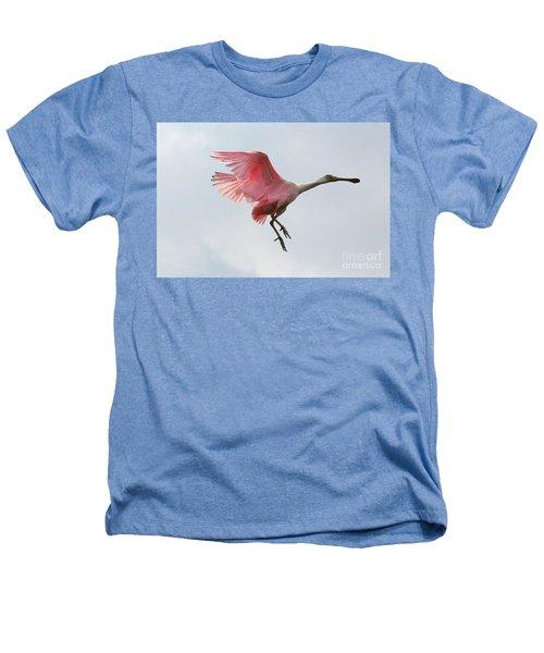 Roseate Spoonbill In Flight Heathers T-Shirt