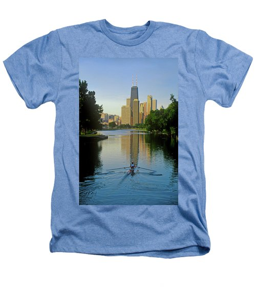 Rower On Chicago River With Skyline Heathers T-Shirt