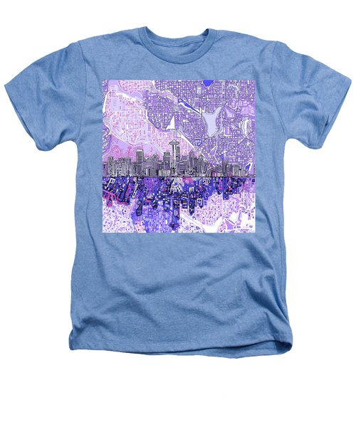 Seattle Skyline Abstract 3 Heathers T-Shirt