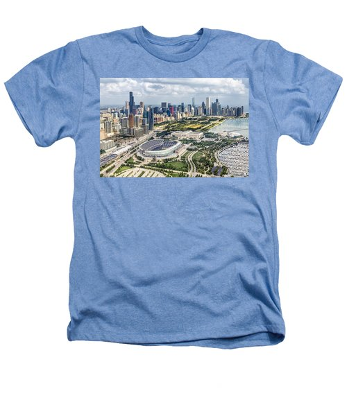 Soldier Field And Chicago Skyline Heathers T-Shirt by Adam Romanowicz