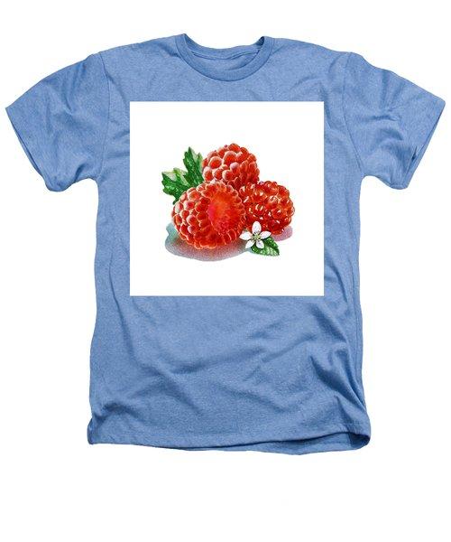 Three Happy Raspberries Heathers T-Shirt by Irina Sztukowski