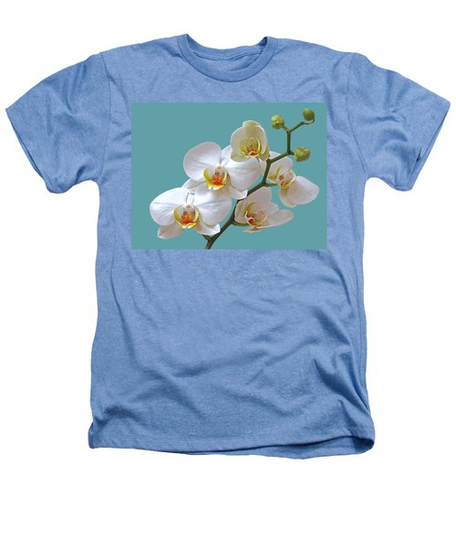 White Orchids On Ocean Blue Heathers T-Shirt by Gill Billington
