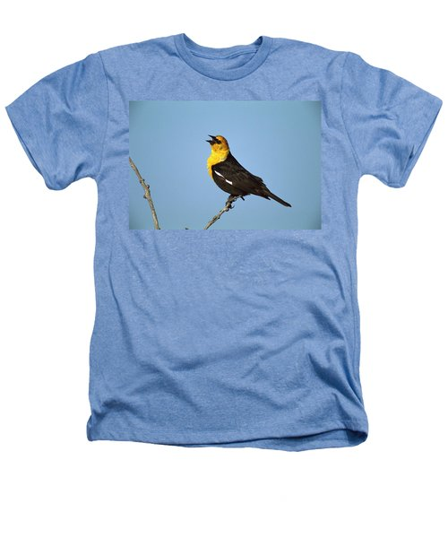 Yellow-headed Blackbird Singing Heathers T-Shirt by Tom Vezo
