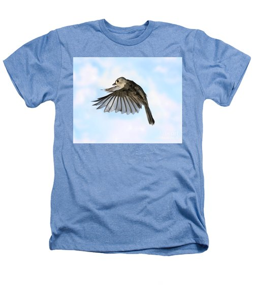 Tufted Titmouse In Flight Heathers T-Shirt