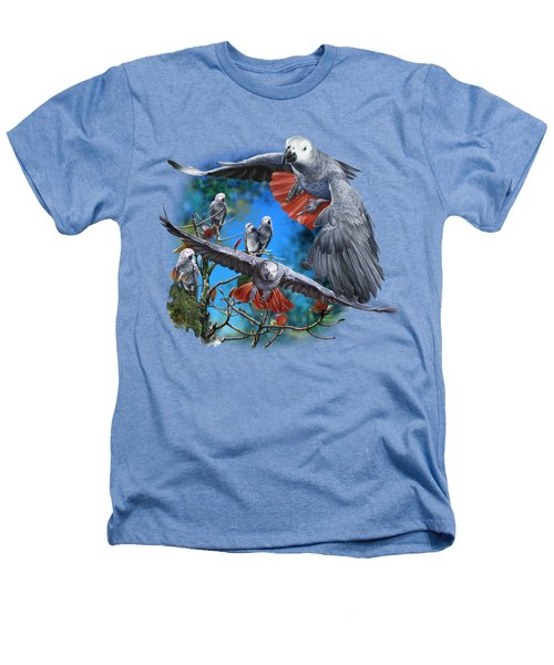 African Grey Parrots Heathers T-Shirt by Owen Bell