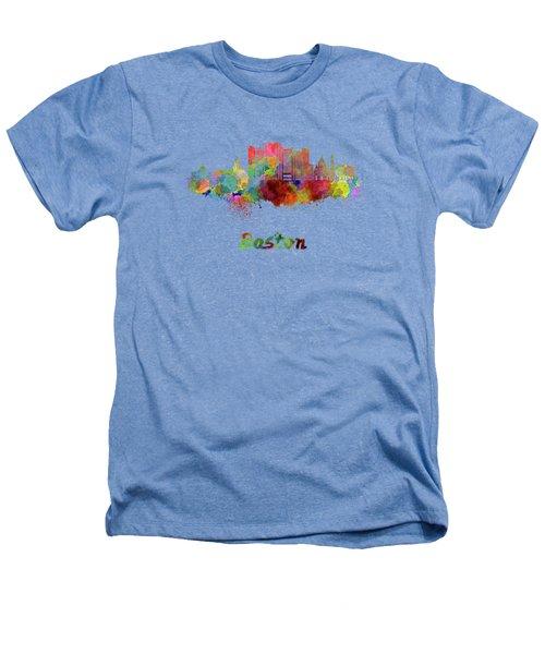 Boston Skyline In Watercolor Heathers T-Shirt by Pablo Romero