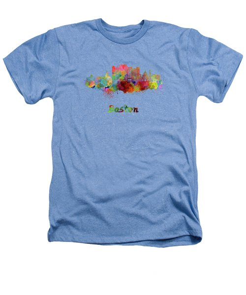 Boston Skyline In Watercolor Heathers T-Shirt