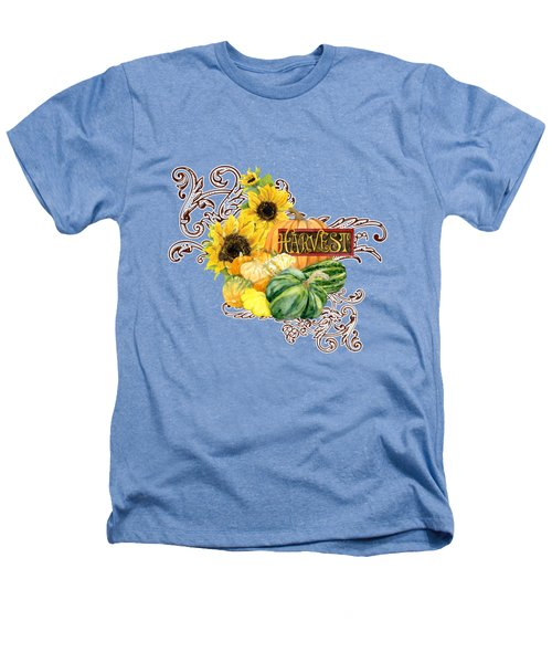 Celebrate Abundance - Harvest Fall Pumpkins Squash N Sunflowers Heathers T-Shirt by Audrey Jeanne Roberts