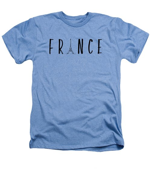 France Typography Panoramic Heathers T-Shirt by Melanie Viola