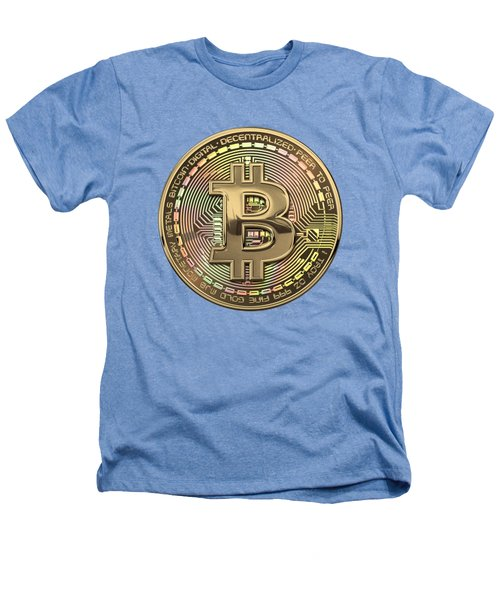 Gold Bitcoin Effigy Over White Leather Heathers T-Shirt