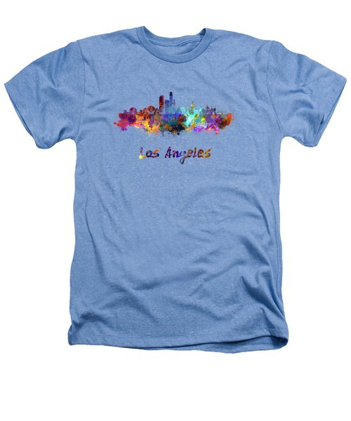 Los Angeles Skyline In Watercolor Heathers T-Shirt