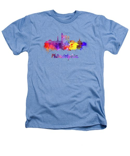 Philadelphia Skyline In Watercolor Heathers T-Shirt by Pablo Romero
