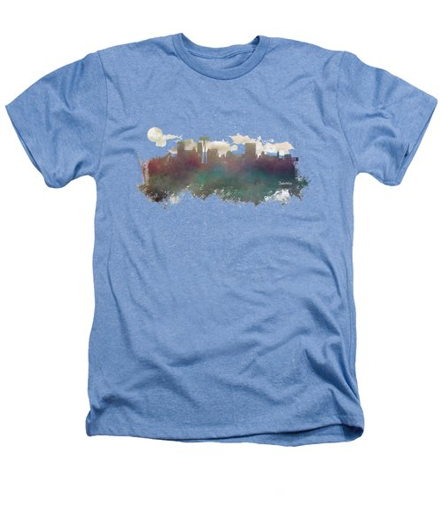 Seattle Washington Skyline Heathers T-Shirt by Justyna JBJart