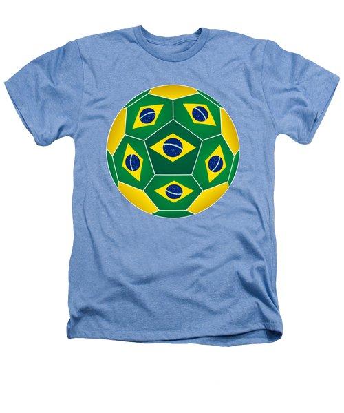 Soccer Ball With Brazilian Flag Heathers T-Shirt