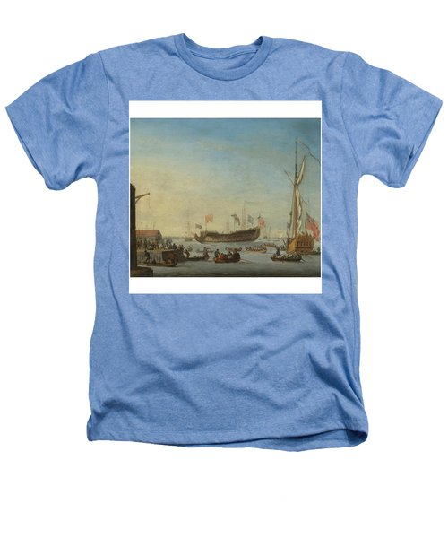 The Launch Of A Man Of War Heathers T-Shirt by Robert Woodcock