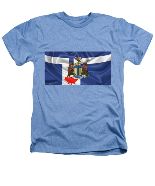 Toronto - Coat Of Arms Over City Of Toronto Flag  Heathers T-Shirt by Serge Averbukh