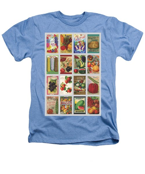 Vintage Farm Seed Packs Heathers T-Shirt by Debbie Karnes