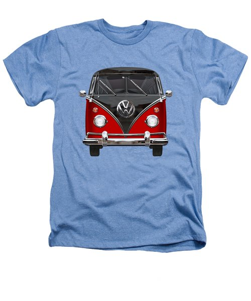 Volkswagen Type 2 - Red And Black Volkswagen T 1 Samba Bus On White  Heathers T-Shirt by Serge Averbukh